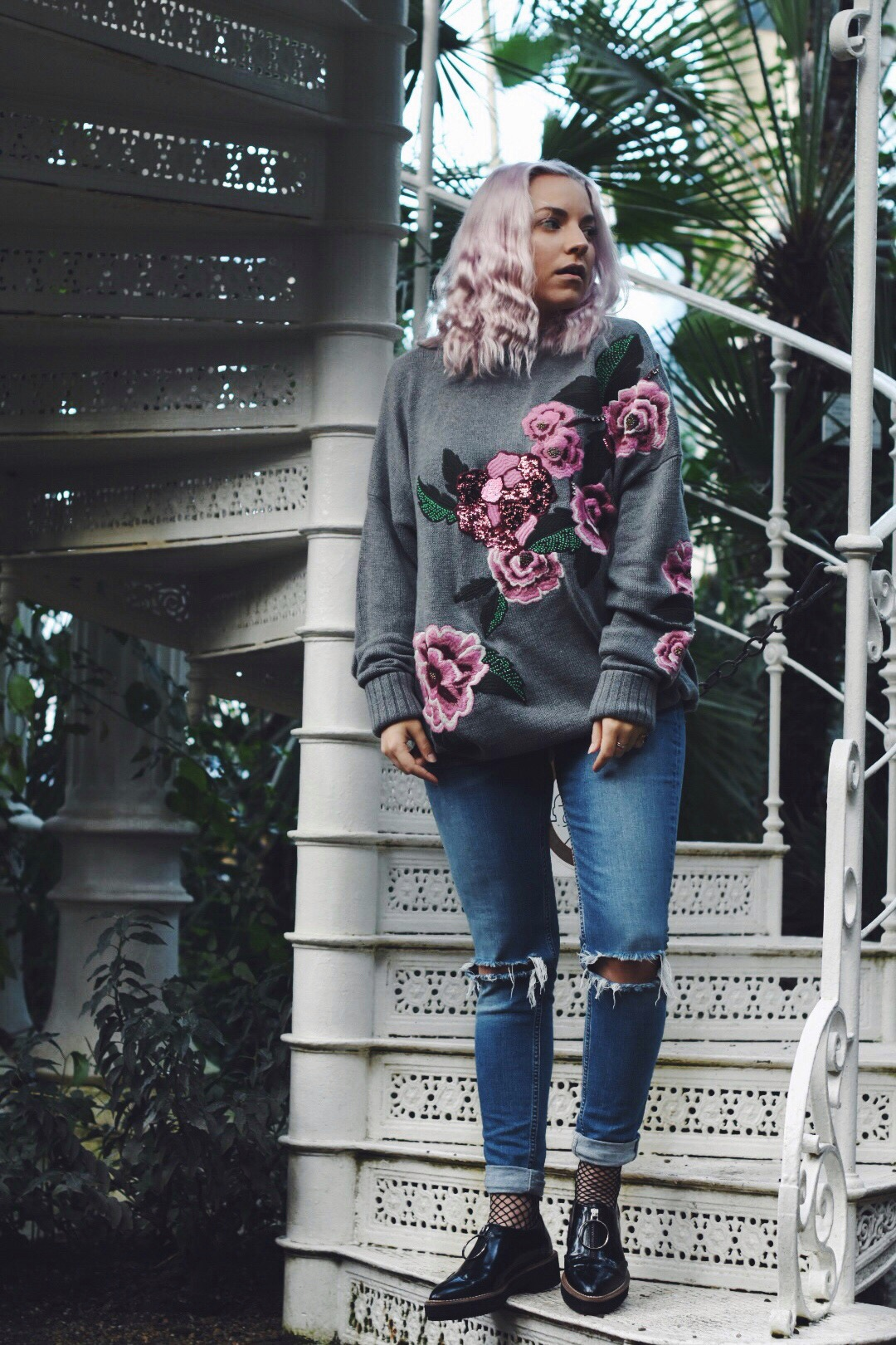 H&M embroidered pink floral knit sweater